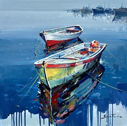 Still Water IV by Santana - Original Painting on Box Canvas sized 24x24 inches. Available from Whitewall Galleries